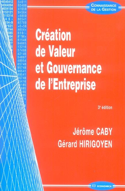 Creation de valeur et gouvernance de l'entreprise (3e édition)