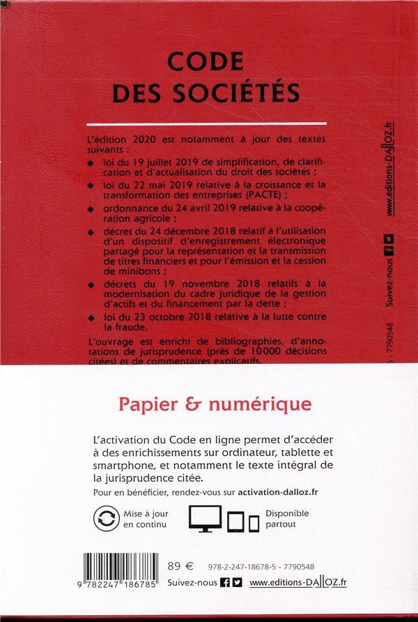 Code des sociétés, annoté et commenté (édition 2020)