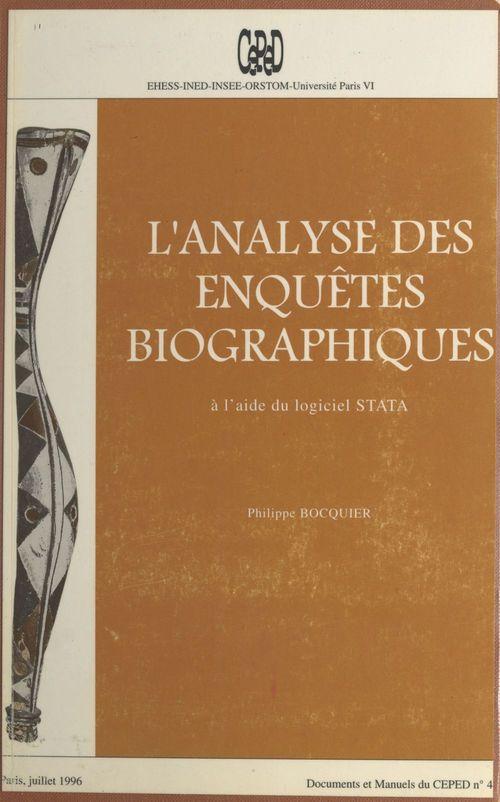L'Analyse des enquêtes biographiques à l'aide du logiciel STATA