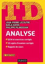 Vente EBooks : TD Analyse - 6e éd.  - Naïla Hayek - Jean-Pierre Lecoutre - Philippe Pilibossian