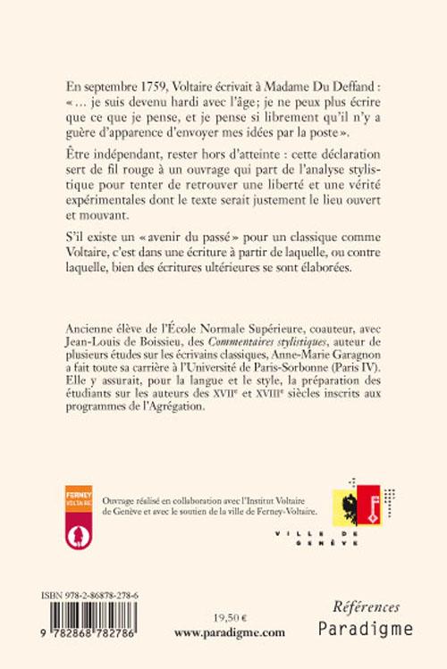 Cinq études sur le style de Voltaire
