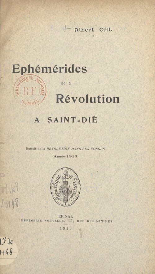 Éphémérides de la Révolution à Saint-Dié