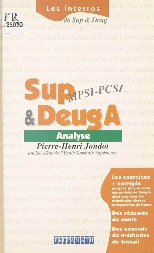 Analyse:Sup MPSI-PCSI et DEUG A