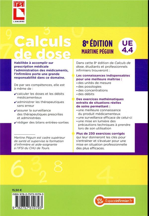 Calculs De Dose Exercices Corriges Ue 4 4 Martine Peguin Lamarre Grand Format Le Hall Du Livre Nancy