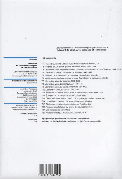Documentation photographique; leonard de vinci ; arts, sciences et techniques