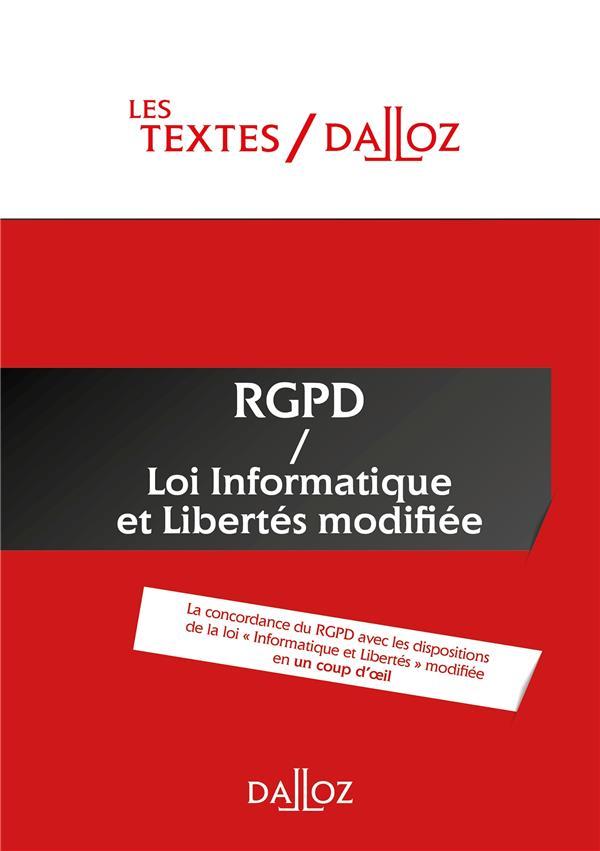 Textes RGPD / loi informatique et libertés de 1978 modifiée ; nouveauté - protection des données