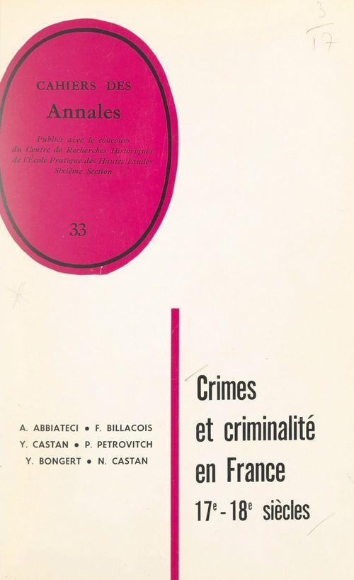 Crimes et criminalité en France sous l'Ancien régime