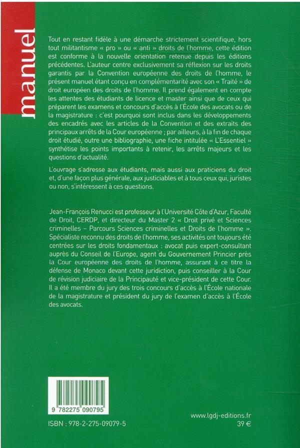 Droit européen des droits de l'homme (9e édition)