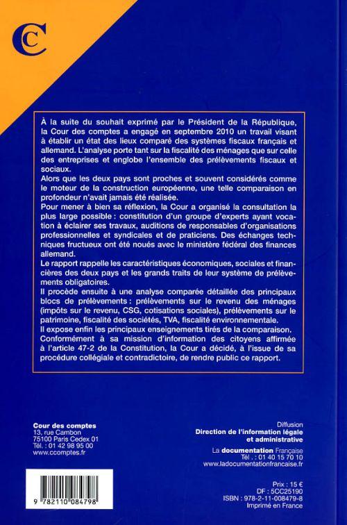 Les prélèvements fiscaux et sociaux en France et en Allemagne ; mars 2011