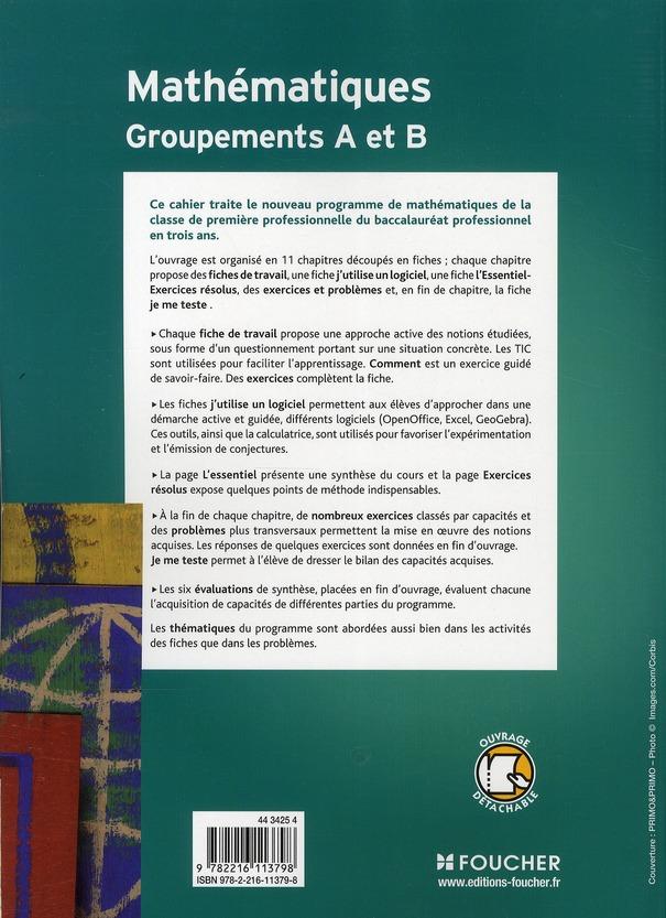 Les nouveaux cahiers ; mathématiques groupements A et B ; 1ère professionnelle ; Bac Pro industriels ; livre-pochette