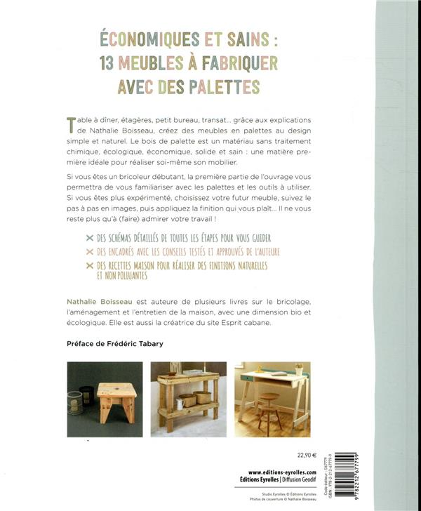 Meubles en palettes ; 12 pas à pas pour un mobilier sain, récup et design