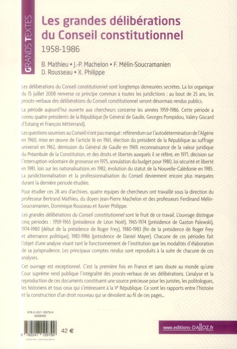 les grandes déliberations du Conseil constitutionnel, 1958-1986 (2e édition)