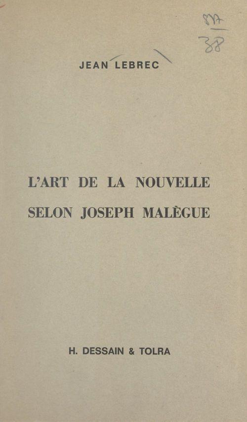 L'art de la nouvelle selon Joseph Malègue