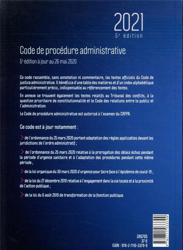 Code de procédure administrative ; spécial CRFPA 2021 (édition 2021)