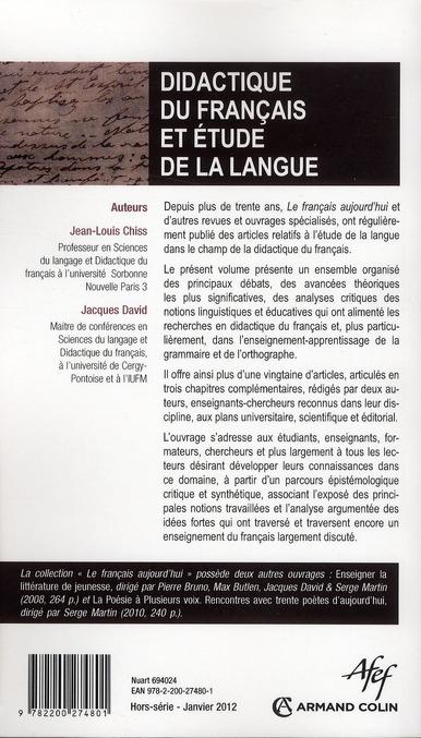 Revue le francais d'aujourd'hui; didactique du francais et etude de la langue