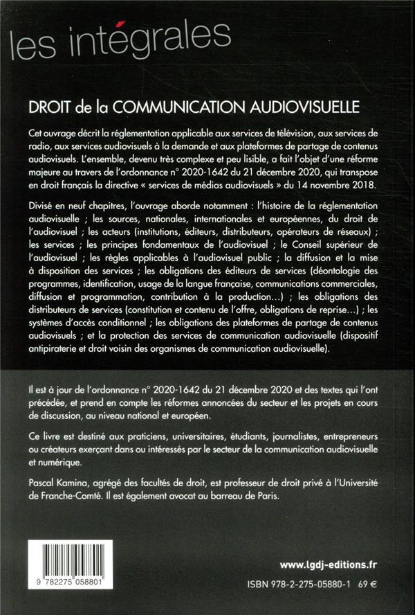 Droit de la communication audiovisuelle : télévision, radio, services de médias à la demande (édition 2021)