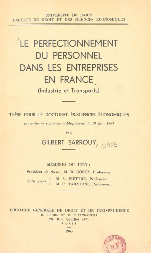 Le perfectionnement du personnel dans les entreprises en France