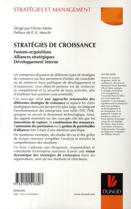 Stratégies de croissance ; fusions-acquisitions, alliances stratégiques, développement interne