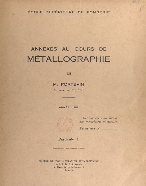 Annexes au cours de métallographie (1)