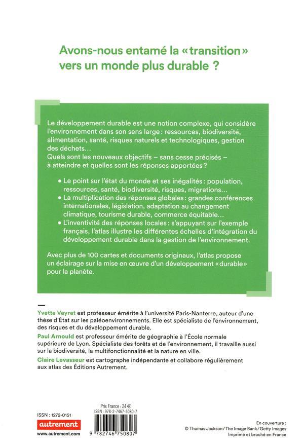 Atlas du développement durable ; société, économie, environnement : un monde en transition