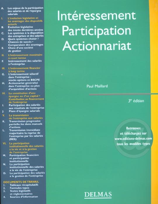 Interessement. participation. actionnariat - 3e ed. - encyclopedie delmas