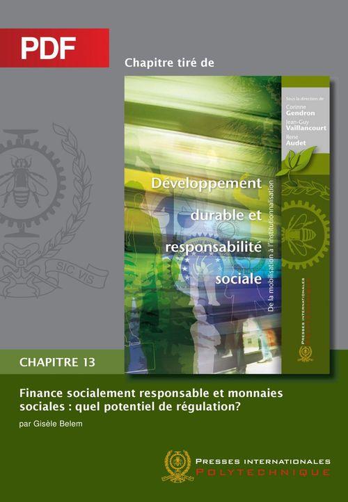 Finance socialement responsable et monnaies sociales (Chapitre PDF)