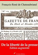 Vente Livre Numérique : De la liberté de la presse - suivi d'annexes  - François-René de Chateaubriand