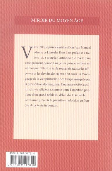 Le livre des Etats du roi Juan Manuel de Castille : un essai de philosophie politique vers 1330