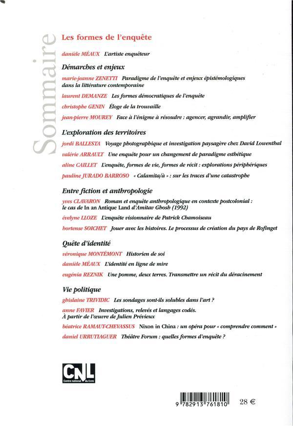 Revue des sciences humaines n.334 ; les formes de l'enquete