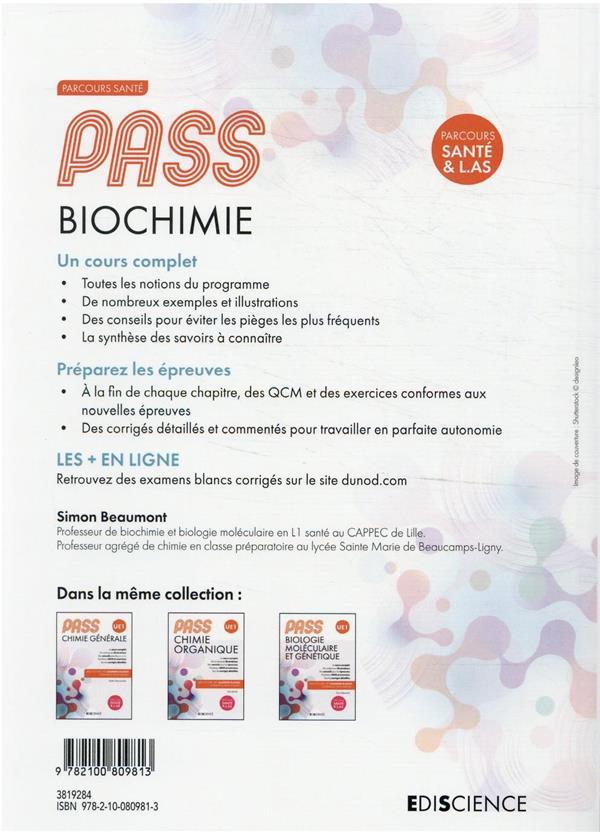 PASS UE1 biochimie ; manuel : cours + entraînements corrigés
