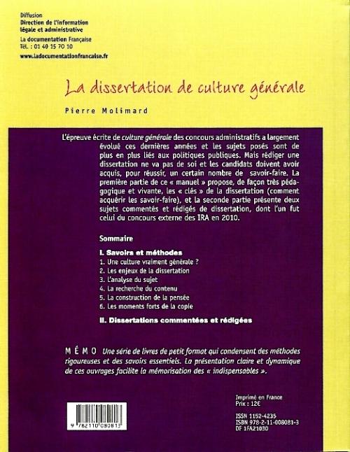 La dissertation de culture générale aux concours ; série fac mémo