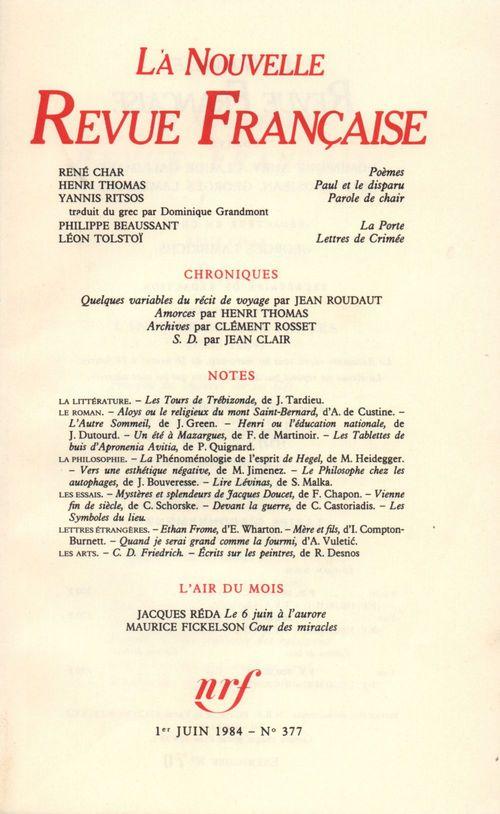 La Nouvelle Revue Française N° 377  - Collectifs  - La Nouvelle Revue Francaise