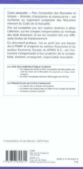 Plan comptable des mutuelles et unions ; activites d'assurance et de reassurance