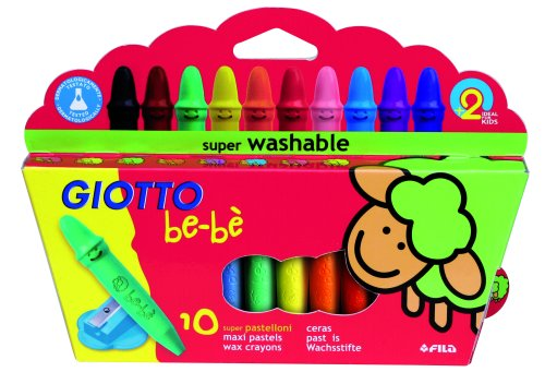 Giotto be-bŠ - Etui 10 crayons cire incassables + 1 taille-crayon