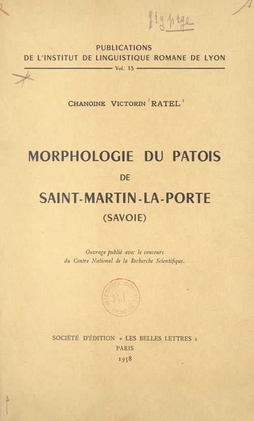 Morphologie du patois de Saint-Martin-la-Porte (Savoie)