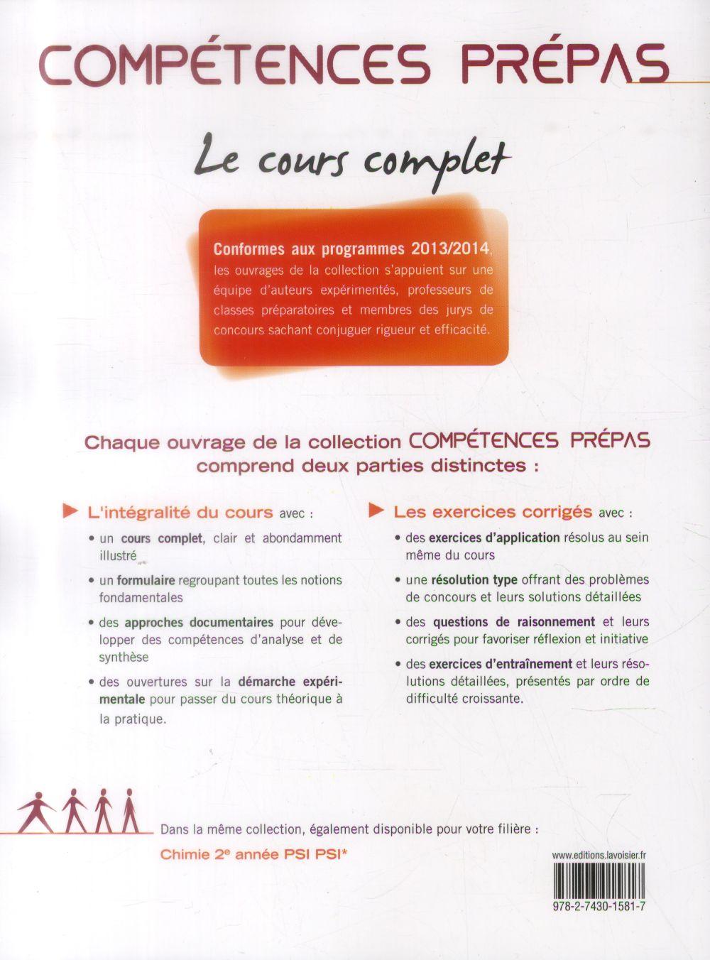 COMPETENCES PREPAS ; physique ; 2e année PSI PSI