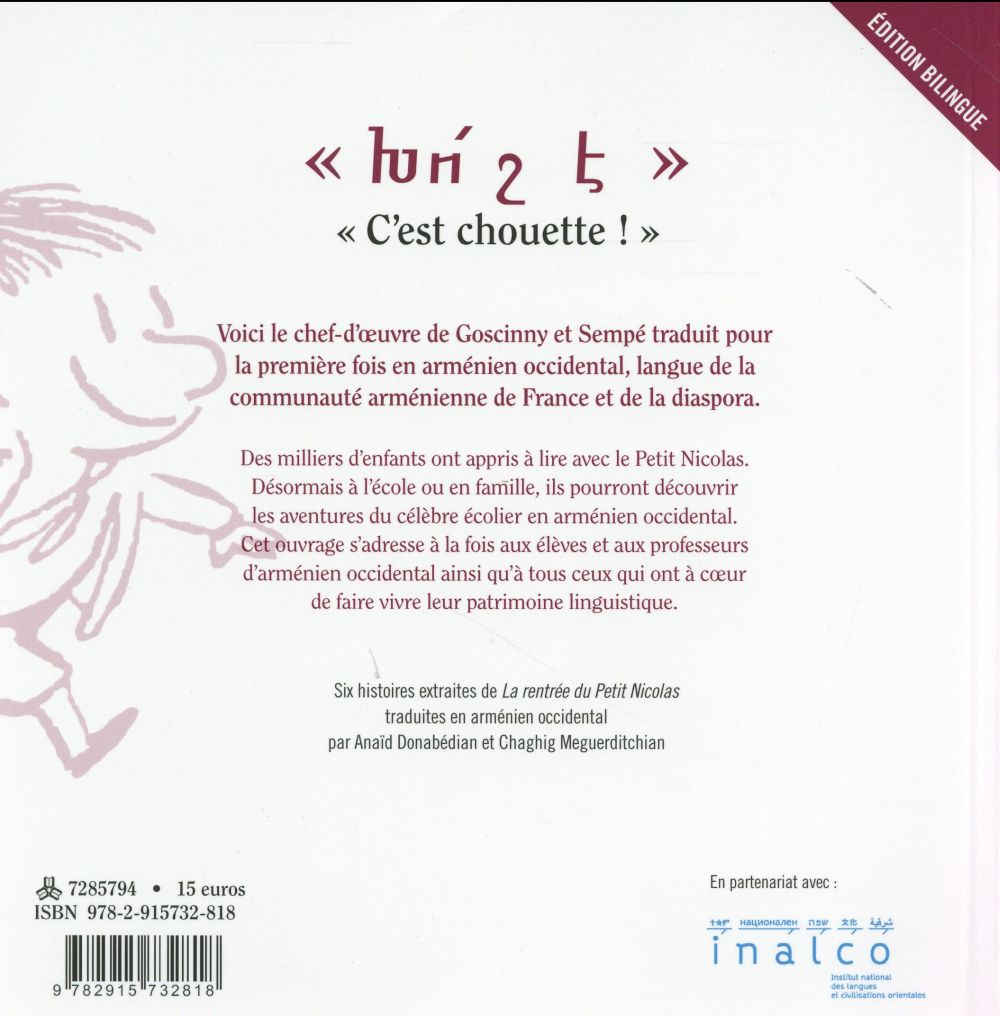 Le Petit Nicolas en arménien ; langues de France