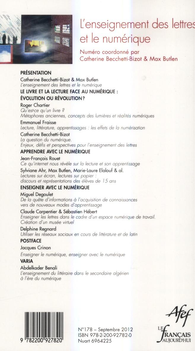 Revue le francais d'aujourd'hui t.178; l'enseignement des lettres et le numerique