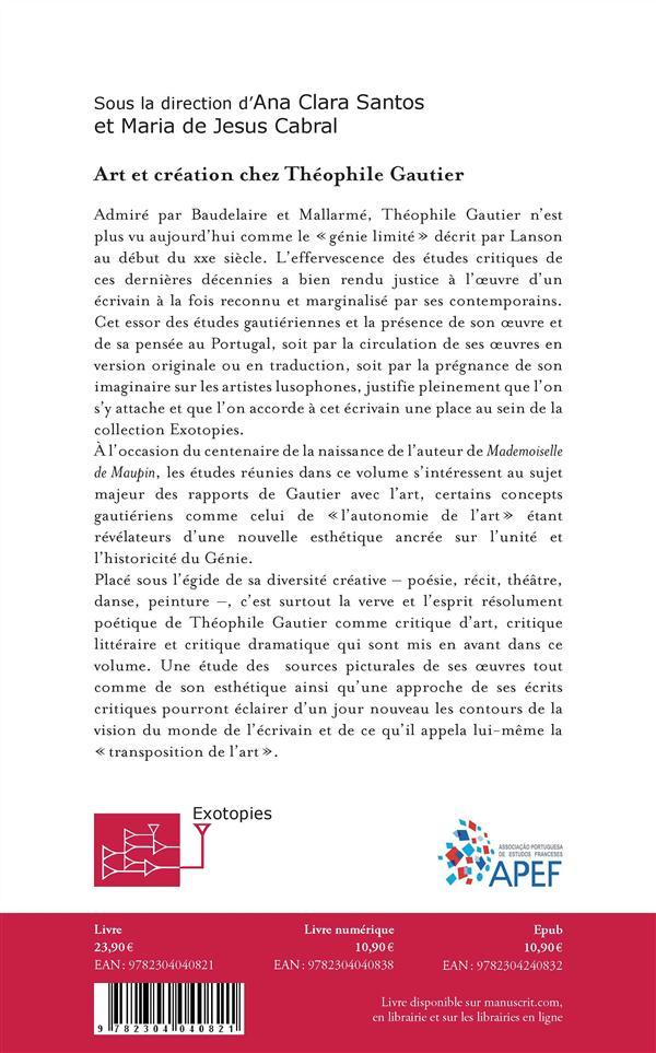 Art et création chez Théophile Gaultier