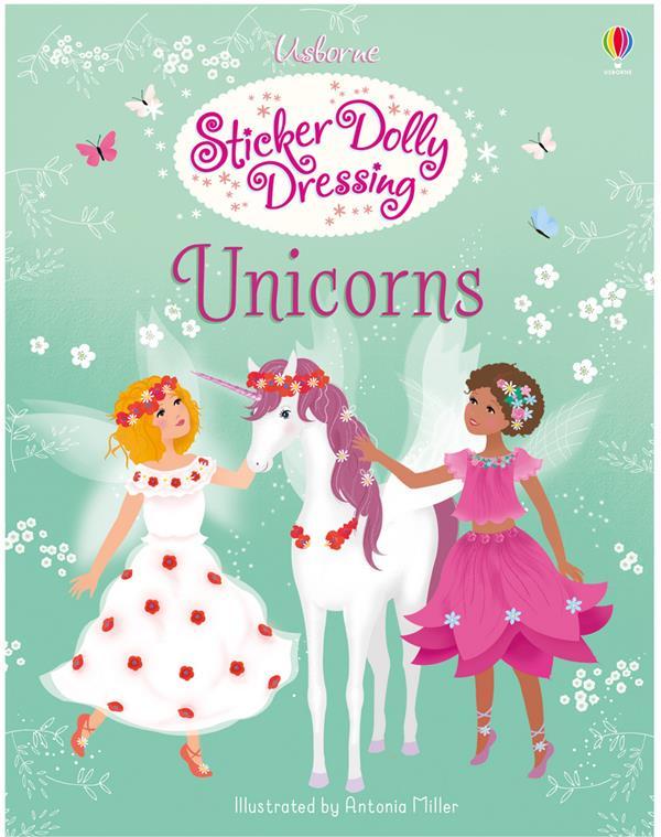 sticker book ; sticker Dolly dressing ; unicorns