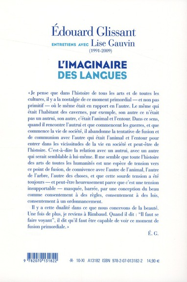 L'imaginaire des langues ; entretiens avec Lise Gauvin (1991-2009)