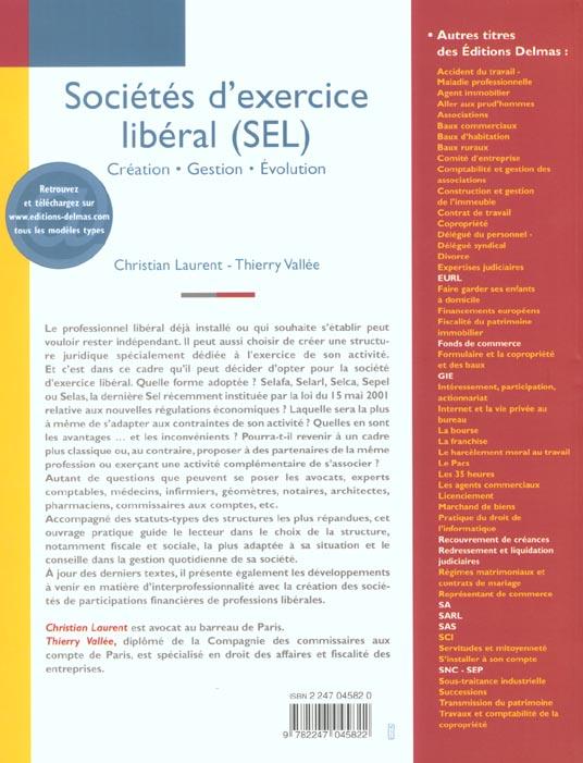 Societes d'exercice liberal ; creation gestion evolution ; 3e edition