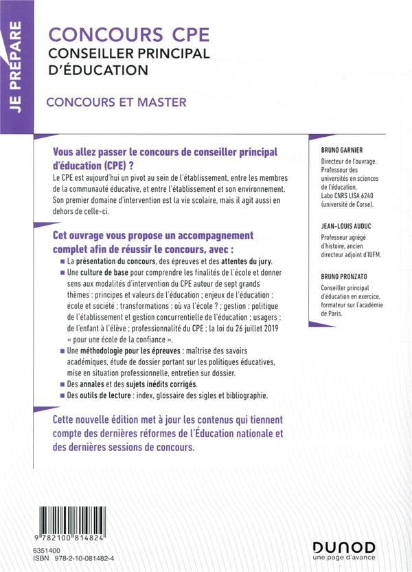 Je prépare T.1 ; concours CPE, conseiller principal d'éducation ; concours et master (4e édition)