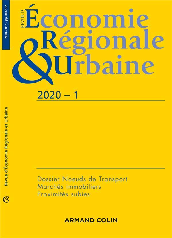 Revue d'économie régionale et urbaine n.2020-1 ; varia