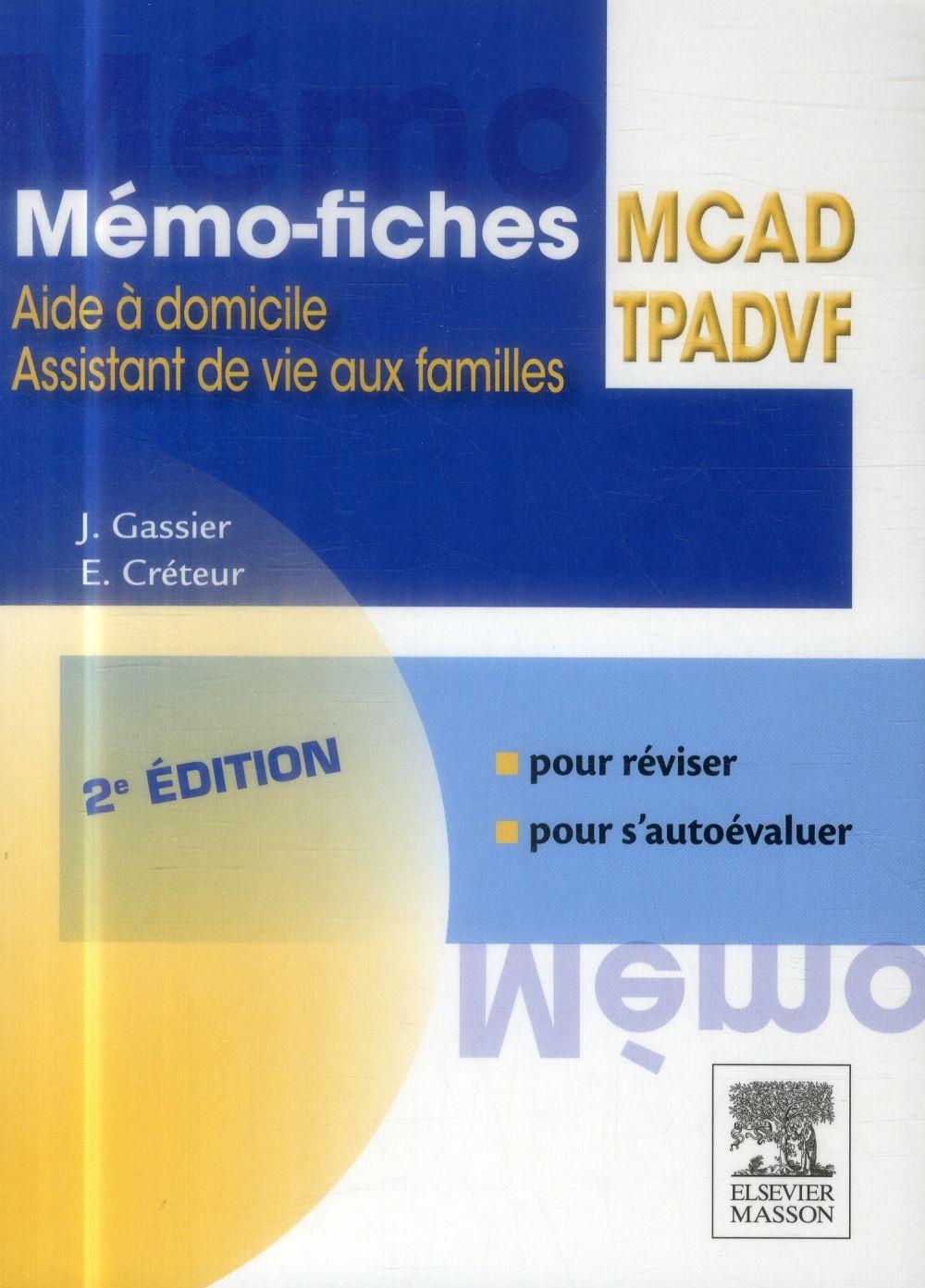 MEMO-FICHES  -  MCADTPADVF  -  MEMO-FICHES  -  2E EDITION Gassier Jacqueline