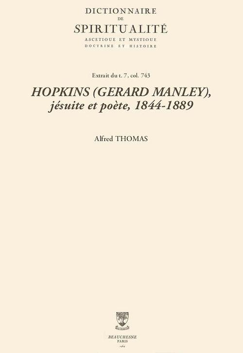 HOPKINS (GERARD MANLEY), jésuite et poète, 1844-1889