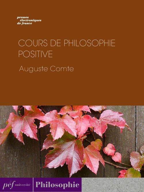 Cours de philosophie positive