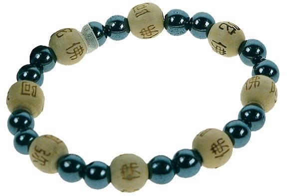 Bracelet hematite perles rondes 8 mm et perles bois 1 cm