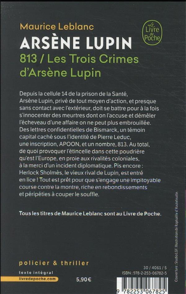 813 ; les trois crimes d'Arsène Lupin