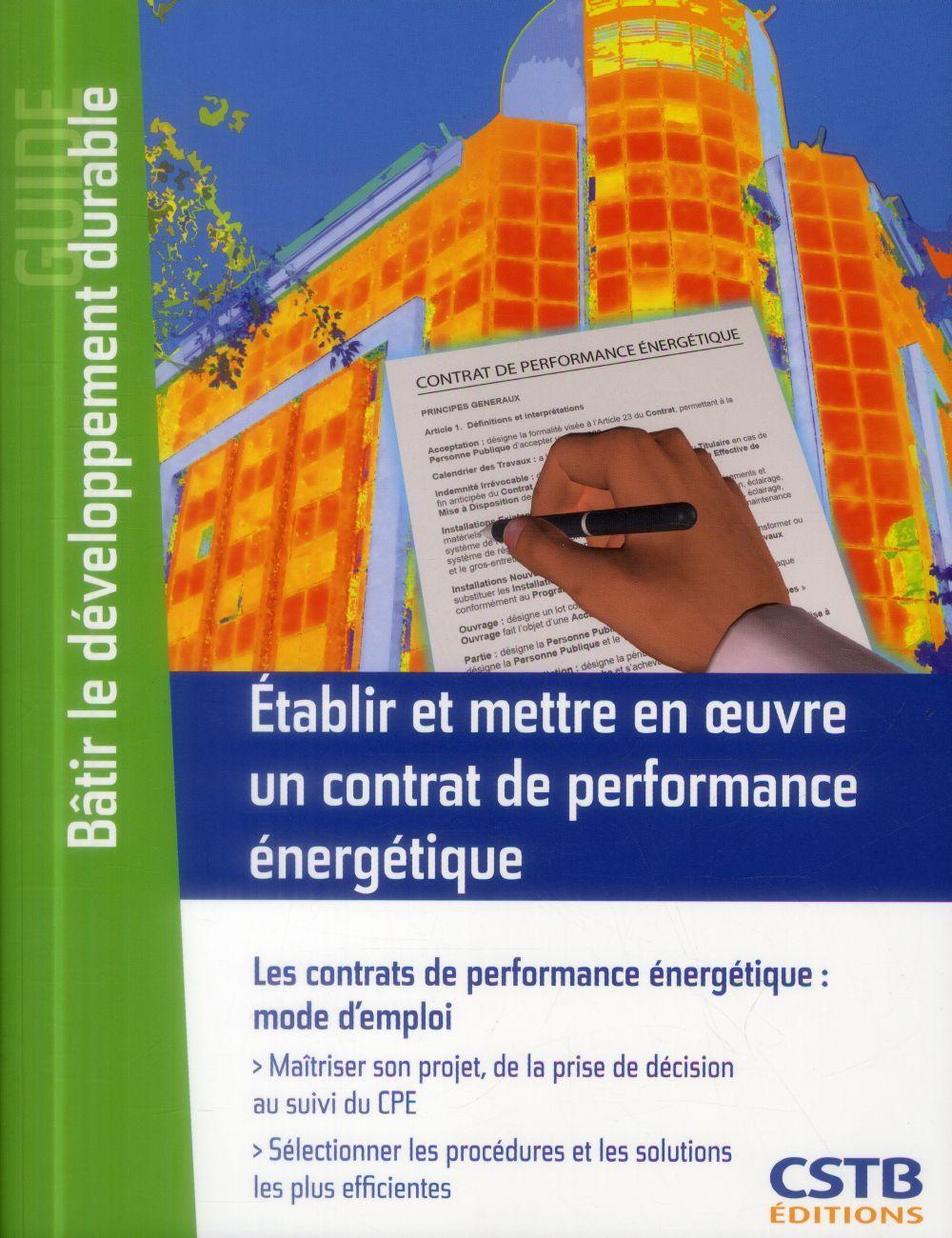 établir et mettre en oeuvre un contrat de performance énergétique